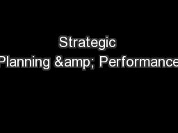 Strategic Planning & Performance