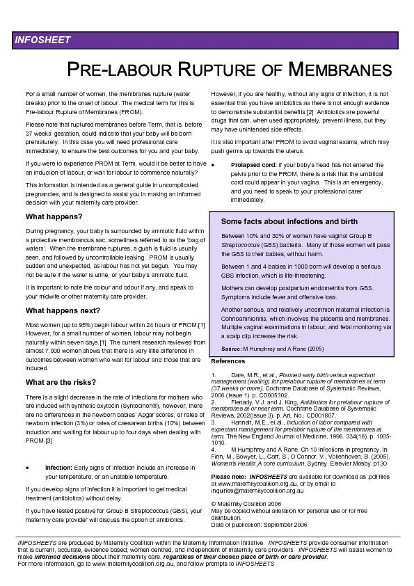 INFOSHEETS are produced by Maternity Coalition within the Maternity In PowerPoint PPT Presentation