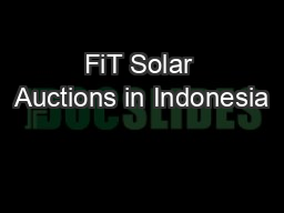 FiT Solar Auctions in Indonesia