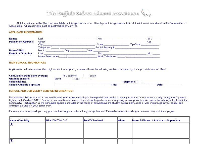 All Information must be filled out completely on this application form
