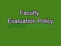 Faculty Evaluation Policy