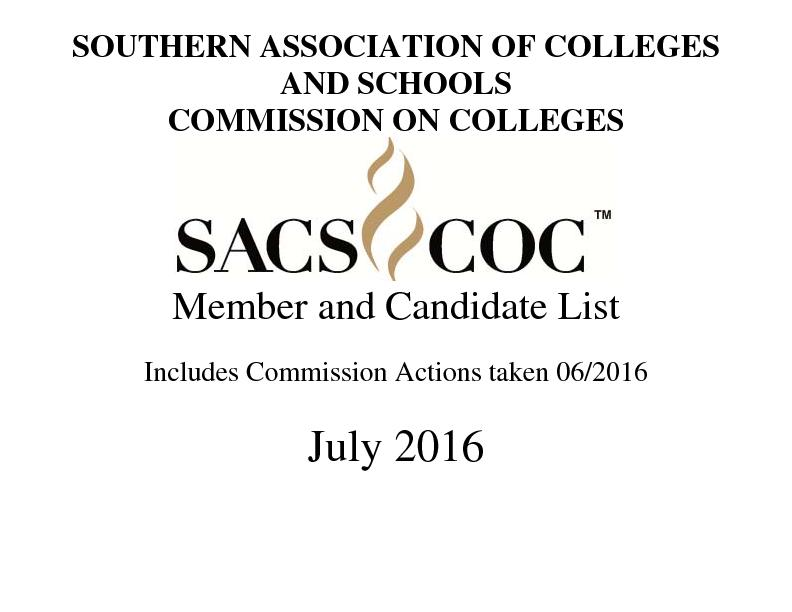 SOUTHERN ASSOCIATION OF COLLEGES AND SCHOOLS COMMISSION ON COLLEGES  .