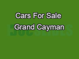 Cars For Sale Grand Cayman