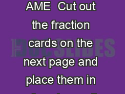 Fractional Clothesline N AME  Cut out the fraction cards on the next page and place them in a facedown pile PowerPoint PPT Presentation