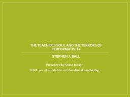 The Teacher's Soul and the Terrors of Performativity