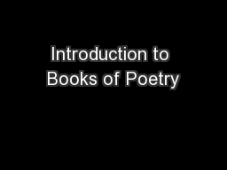 Introduction to Books of Poetry