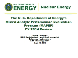 The U. S. Department of Energy's Mixed-Analyte Performanc