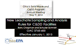 New Leachate Sampling and Analysis Rules for C&DD