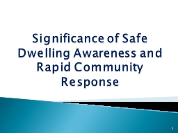 Significance of Safe Dwelling Awareness and Rapid Community