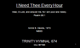 I Need Thee Every Hour PowerPoint PPT Presentation
