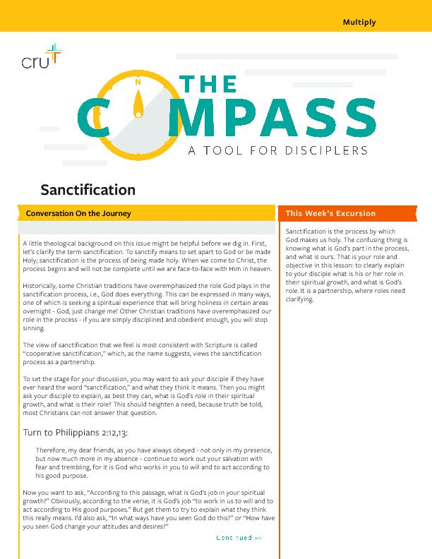 """Sancti cation""""The Compass"""" is a small group material create"""