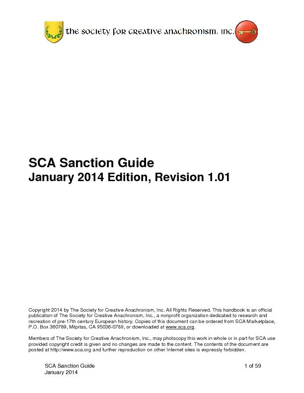 SCA Sanction Guideof January SCA Sanction GuideJanuary201Edition, Revi
