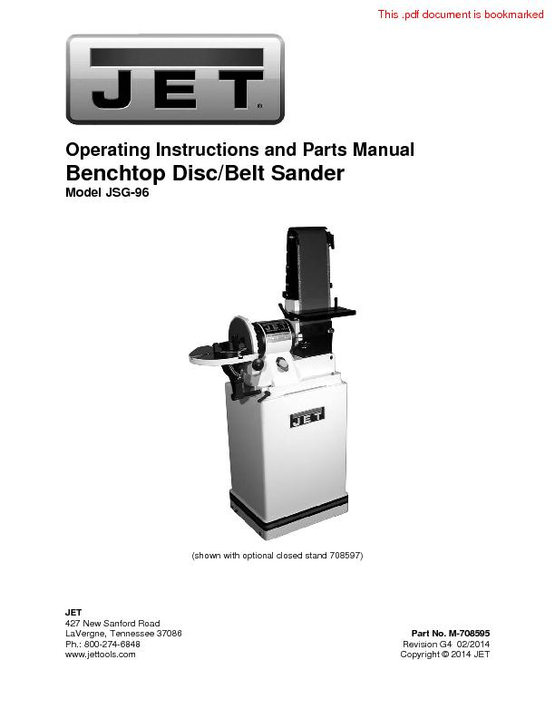 Operating Instructions and Parts Manual Benchtop Disc/Belt Sander Mode