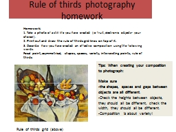 Rule of thirds photography homework