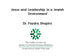 Jesus and Leadership in a Jewish Environment