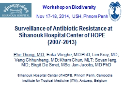 Surveillance of Antibiotic Resistance at