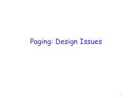 Paging: Design Issues