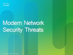 Modern Network Security Threats PowerPoint PPT Presentation