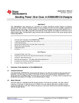 Application Report SNLA June  Sending Power Over Coax in DSUBA Designs ABSTRACT The DSUBA was designed as serializer to support automotive camera designs