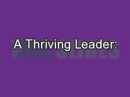 A Thriving Leader: