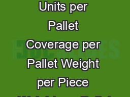 PRODUCT ATA Coverage Units per Pallet Coverage per Pallet Weight per Piece Weight per Pallet