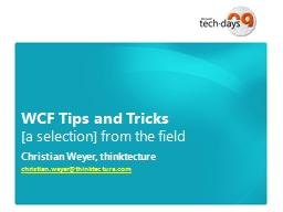 WCF Tips and Tricks
