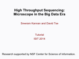 High Throughput Sequencing: PowerPoint PPT Presentation
