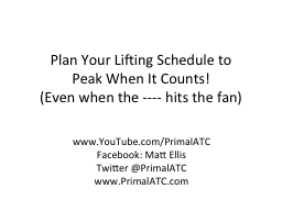 Plan Your Lifting Schedule to