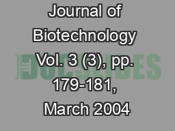African Journal of Biotechnology Vol. 3 (3), pp. 179-181, March 2004