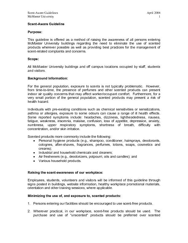 Scent-Aware Guidelines  April 2004 McMaster University  1 Scent-Aware