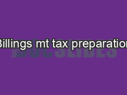 Billings mt tax preparation