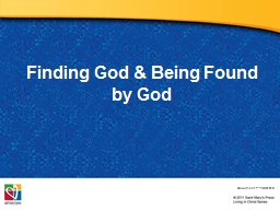 Finding God & Being Found by God
