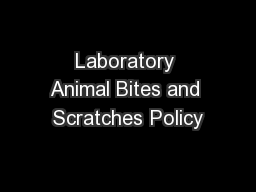 Laboratory Animal Bites and Scratches Policy PowerPoint PPT Presentation