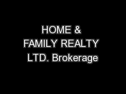 HOME & FAMILY REALTY LTD. Brokerage