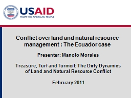 Conflict over land and natural resource management : The Ec