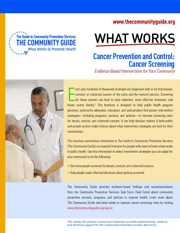 Cancer Prevention and Control: