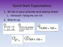 Quick Start Expectations