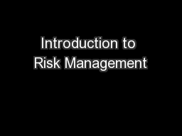 Introduction to Risk Management PowerPoint PPT Presentation