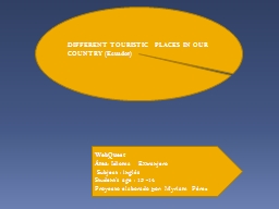 DIFFERENT TOURISTIC  PLACES IN OUR COUNTRY (Ecuador) PowerPoint PPT Presentation