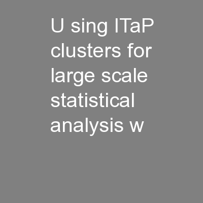 U sing ITaP clusters for large scale statistical analysis w