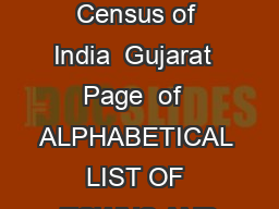 List of towns Census of India  Gujarat  Page  of  ALPHABETICAL LIST OF TOWNS AND
