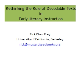 Rethinking the Role of Decodable Texts