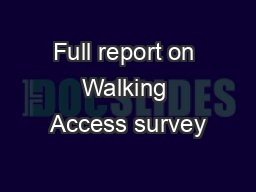 Full report on Walking Access survey