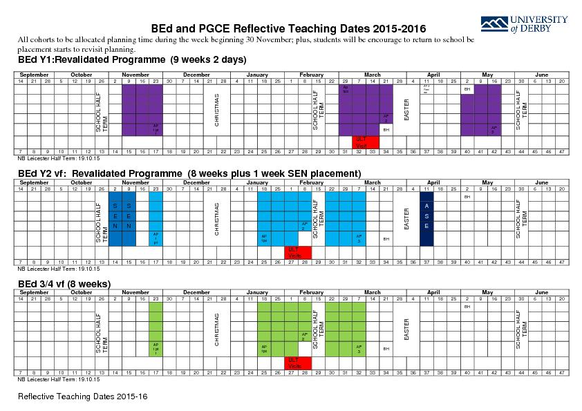 andPGCE ReflectiveTeaching Dates 201All cohorts to be allocated planni