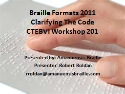 Braille Formats 2011