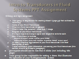 Intro to Transducers in Fluid Systems PowerPoint PPT Presentation