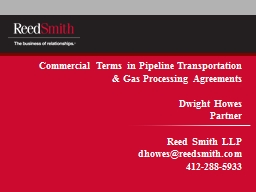 Commercial Terms in Pipeline Transportation & Gas Proce