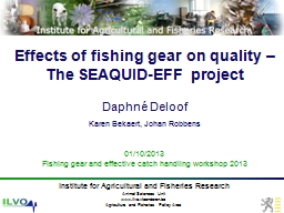 Effects of fishing gear on quality – The SEAQUID-EFF proj