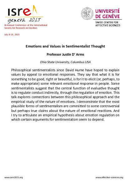 Emoions and Values in Senimentalist Thought ...
