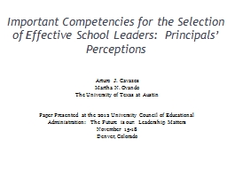 Important Competencies for the Selection of Effective Schoo